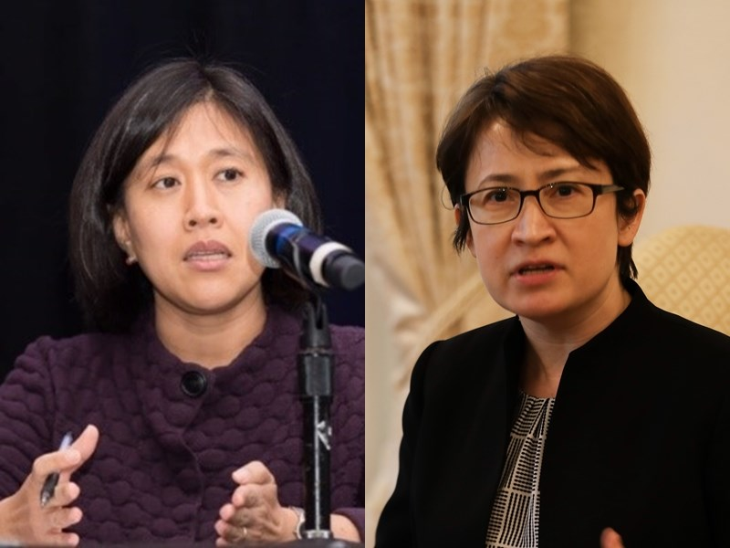 彭博選出2021年可能左右國際局勢的8位重要人士,包括戴琪(左)與蕭美琴。(左圖取自美中貿易全國委員會網頁uschina.org,右為中央社檔案照片)