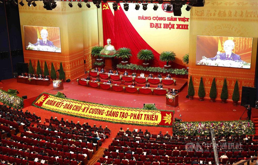越共13大會議26日開幕,越南全國1587名黨代表與會,會議將進行至2月2日。(越通社提供)中央社記者陳家倫河內傳真  110年1月26日