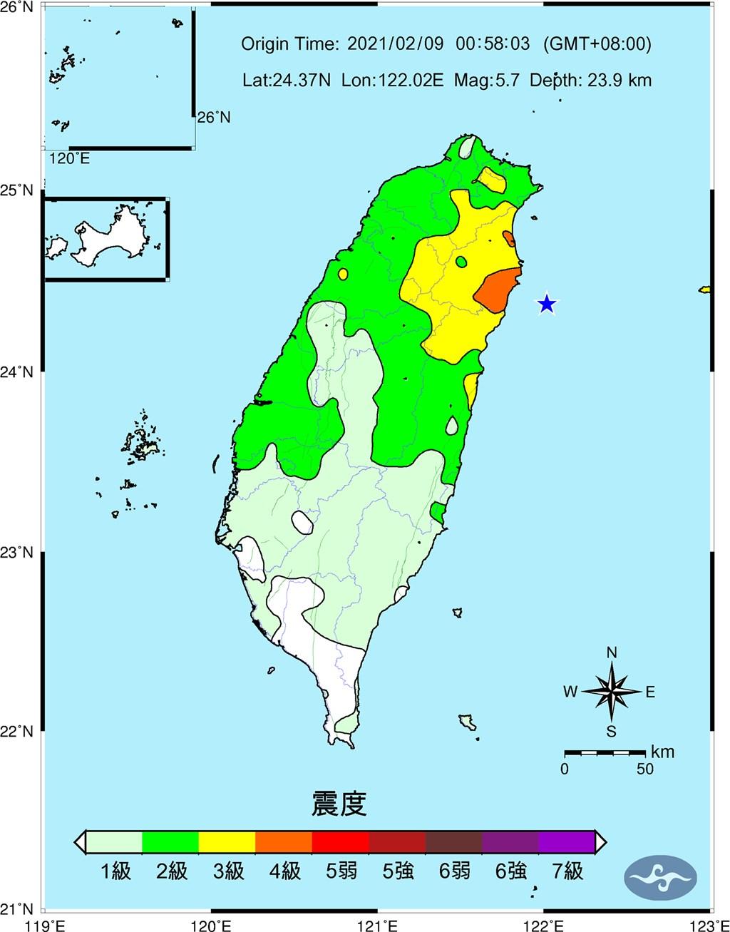 東部海域連9日凌晨兩起規模5以上地震,中央氣象局地震測報中心說,都算是7日台灣東部海域規模6.1地震的餘震。(圖取自facebook.com/CWBSC.TW)