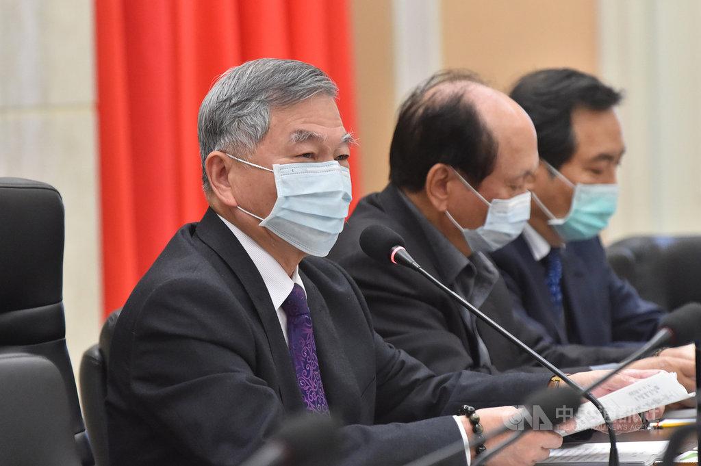 行政院副院長沈榮津(左)23日主持「國土安全政策會報」,檢討109年國土安全業務,並指示今年工作重點。(行政院提供)中央社記者葉素萍傳真  110年2月23日
