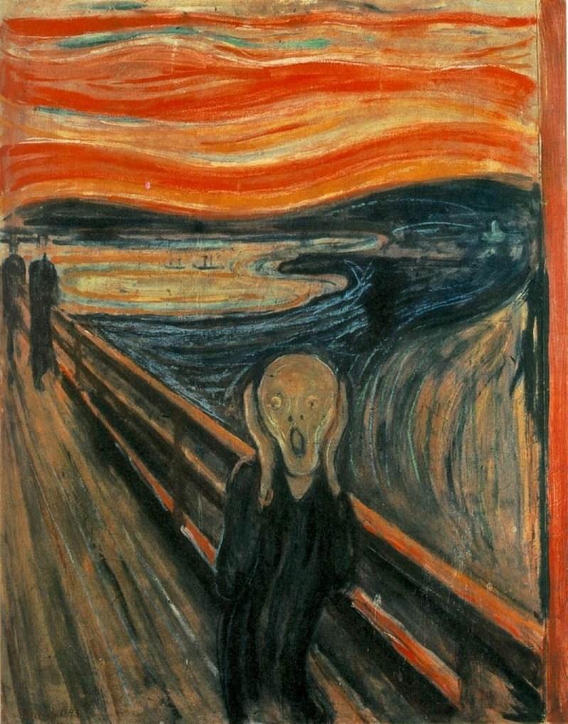 挪威畫家孟克著名作品「吶喊」一角寫著神秘的一句話:「只有瘋子畫得出來」。挪威專家做出結論,正是孟克本人親自寫下。(圖取自維基共享資源,版權屬公眾領域)
