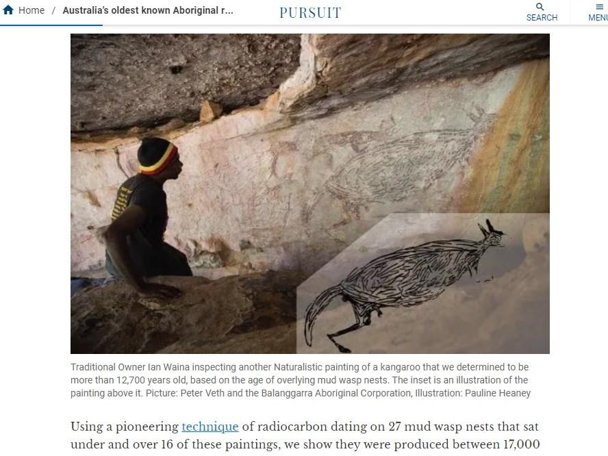 一幅在澳洲出土的袋鼠石壁畫作,以早期自然主義風格繪製,約2公尺長、與袋鼠實際大小相仿。(圖取自墨爾本大學網頁pursuit.unimelb.edu.au)