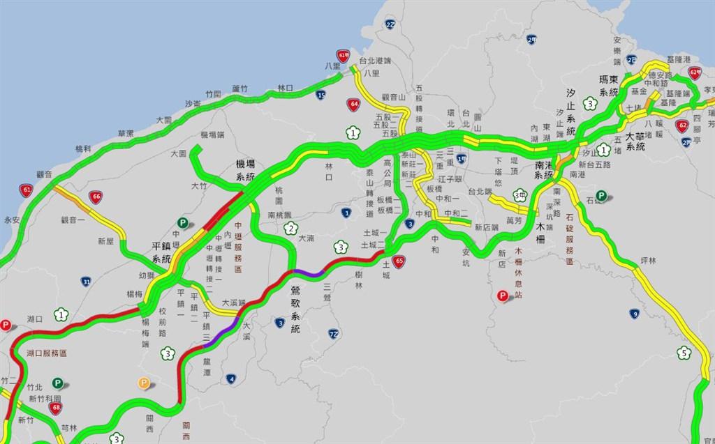 二二八連假首日,國道北部南下27日一早車流量就很大,部分路段到中午還在塞,甚至出現「紫爆」。(圖取自高速公路1968網頁1968.freeway.gov.tw)