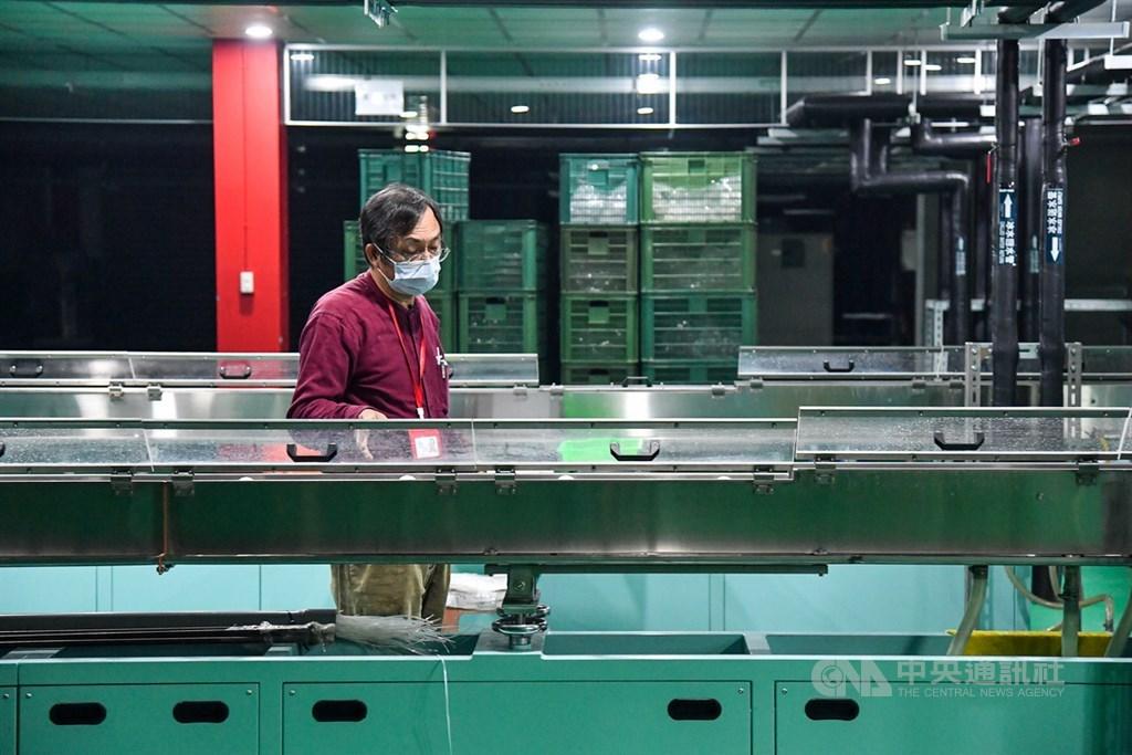 銘安科技創辦人黃建銘巡視著機器設備,他說,2020年受到疫情影響訂單下降,不過2021年有望恢復成長,發揮虎尾廠區效益。中央社記者鄭清元攝 110年3月7日