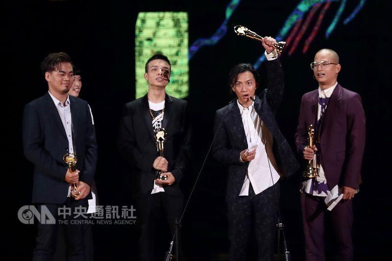第29屆金曲獎頒獎典禮23日在台北小巨蛋舉行,搖滾樂團茄子蛋獲得最佳新人獎。中央社記者吳翊寧攝 107年6月23日