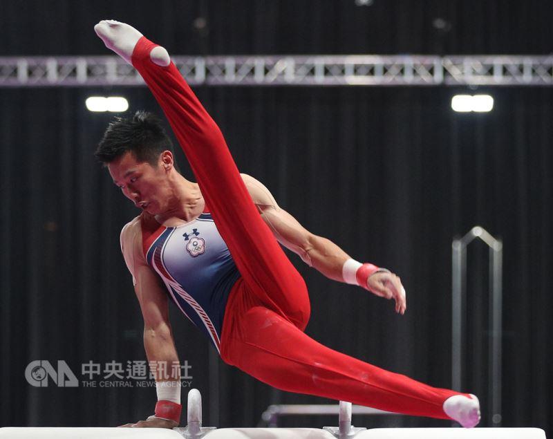 圖為穿著印有中華奧會會徽衣服的李智凱23日在亞運體操單項決賽男子鞍馬項目摘下金牌。(中央社檔案照片)