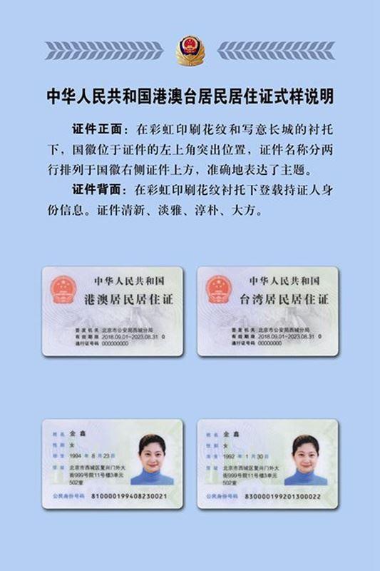 根據北京市公安局通報附圖,與台胞證、港澳通行證不同的是,港澳台居民居住證上印有「中華人民共和國」字樣。(翻攝自北京市公安局通報)