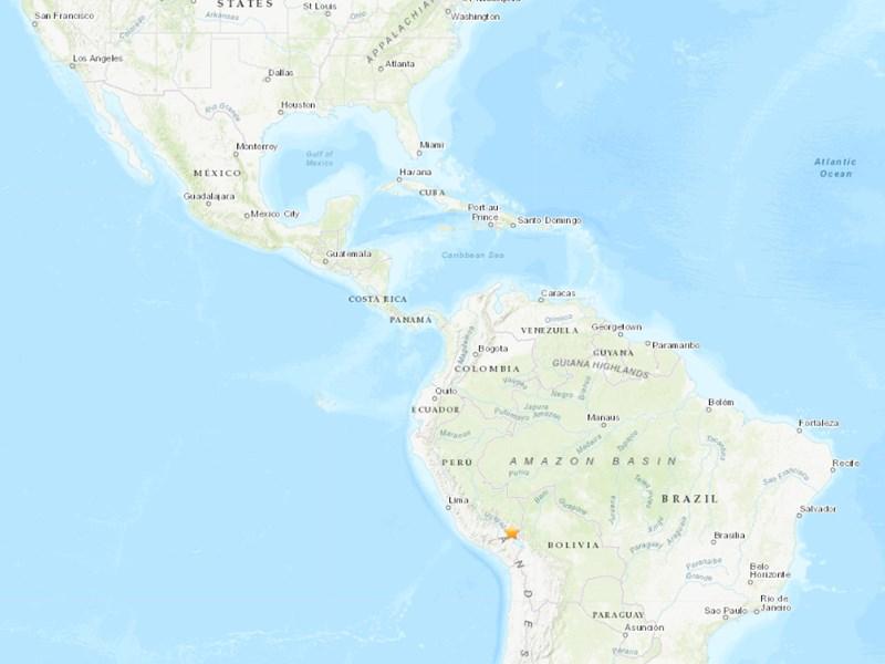 秘魯南部城市朱利卡北北西方67公里處(星號處)1日發生規模7.1強震。(圖取自美國地質調查所網頁earthquake.usgs.gov)