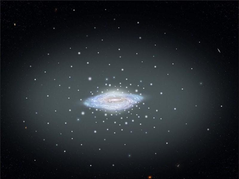 在美國國家航空暨太空總署與歐洲太空總署蓋亞太空任務的合作中,一群專家計算出銀河系的質量約是太陽質量的1.5兆倍。(圖取自twitter.com/nasahubble)