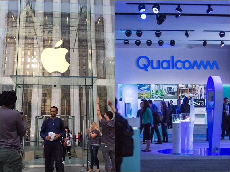 蘋果(左起)及高通達成為期6年全球專利許可協議,並包括2年的延期選項。(左圖中央社檔案照片;右圖取自facebook.com/Qualcomm)