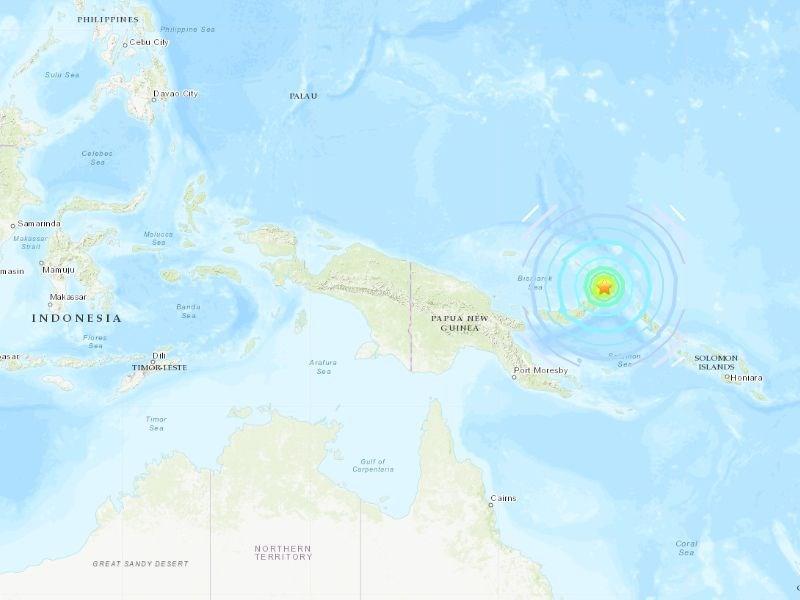 巴布亞紐幾內亞外海14日發生規模7.5強震。太平洋海嘯警報中心警告,可能引發有危險的海嘯。(圖取自美國地質調查所網頁earthquake.usgs.gov)