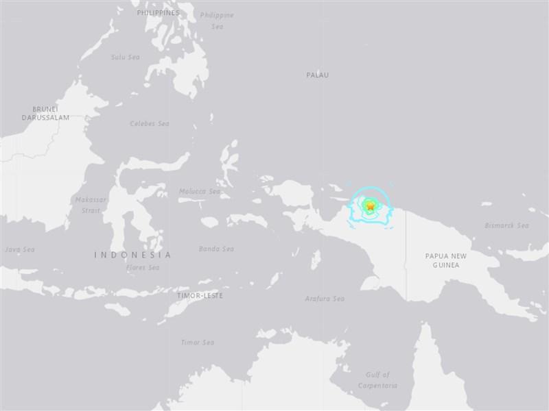 印尼東部巴布亞省20日發生規模6.3地震,未發布海嘯警報。(圖取自美國地質研究所網頁usgs.gov)