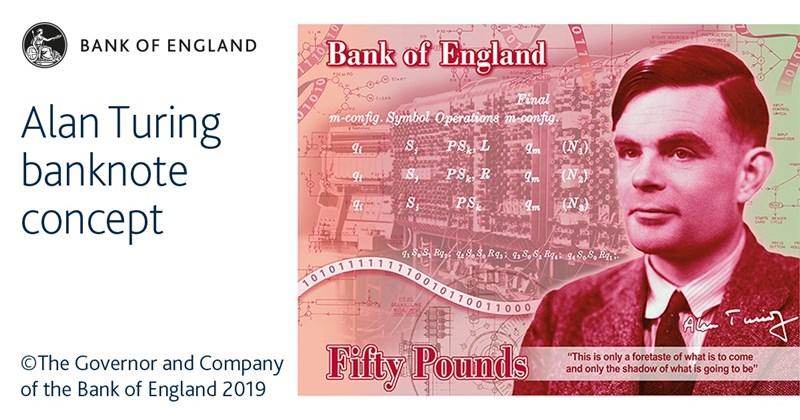 曾因為同志身分遭到迫害、第二次世界大戰的密碼英雄圖靈成為英國50鎊新鈔的肖像人物。(圖取自facebook.com/bankofengland.co.uk)