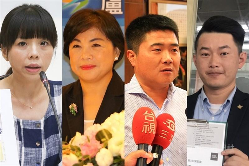 2020台中市立委選舉,台中市副市長楊瓊瓔(左2)可望對決爭取連任的時代力量立委洪慈庸(左1),以及民進黨和基進黨合推陳柏惟(右1)挑戰顏寬恒(右2)。(中央社檔案照片)