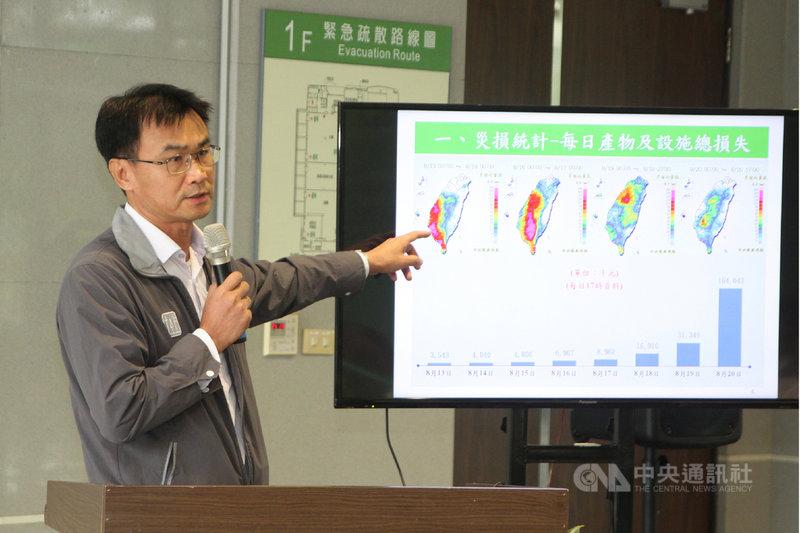 農委會21日在台南區農業改良場舉辦「0812連日豪雨農業災損統計與救助方案」記者會,農委會主委陳吉仲(圖)表示,希望公告地區的農民儘快向各鄉鎮公所申報,並做好照相存證工作。中央社記者楊思瑞攝  108年8月21日