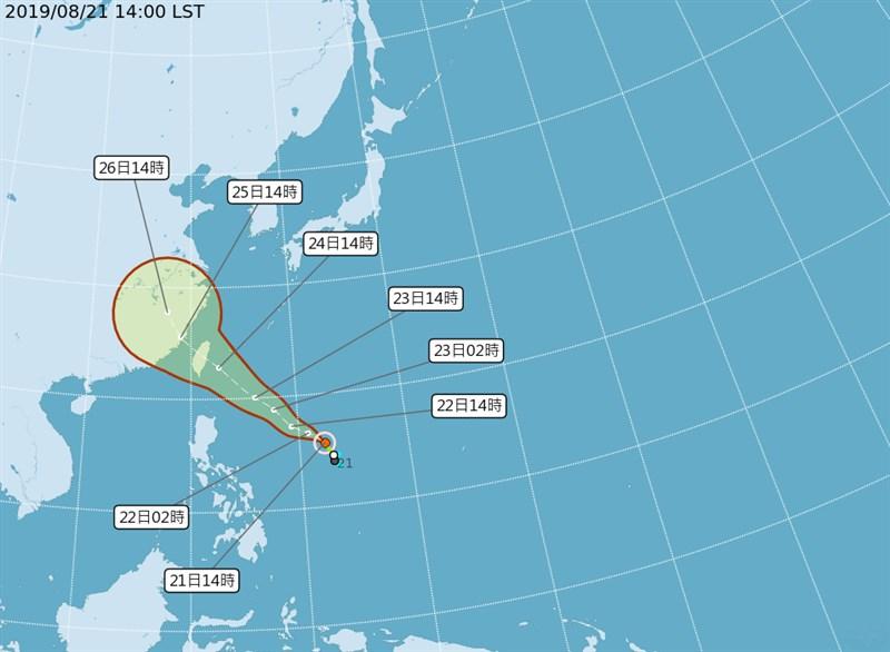 颱風白鹿21日下午2時形成,中央氣象局預測,颱風朝台灣方向移動。(圖取自中央氣象局網頁cwb.gov.tw)