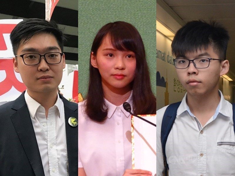 香港831反送中遊行前夕,香港著名社運人士、反送中參與者陳浩天(左)、周庭(中)、黃之鋒(右)遭港警逮捕。(中央社檔案照片)