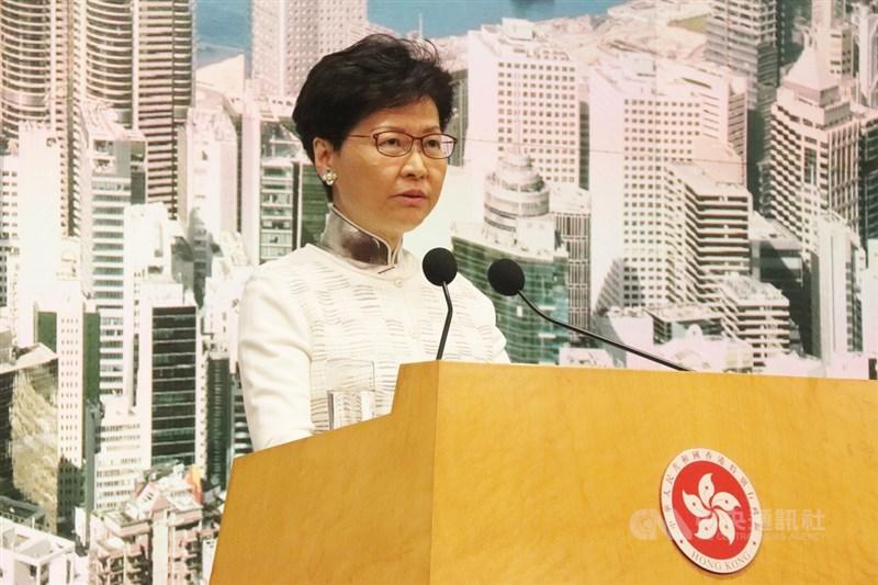 根據錄音內容,香港特首林鄭月娥(圖)上週會見商界人士表示,如果她能選擇將辭職下台,並透露中國未定下解決反送中期限。(中央社檔案照片)