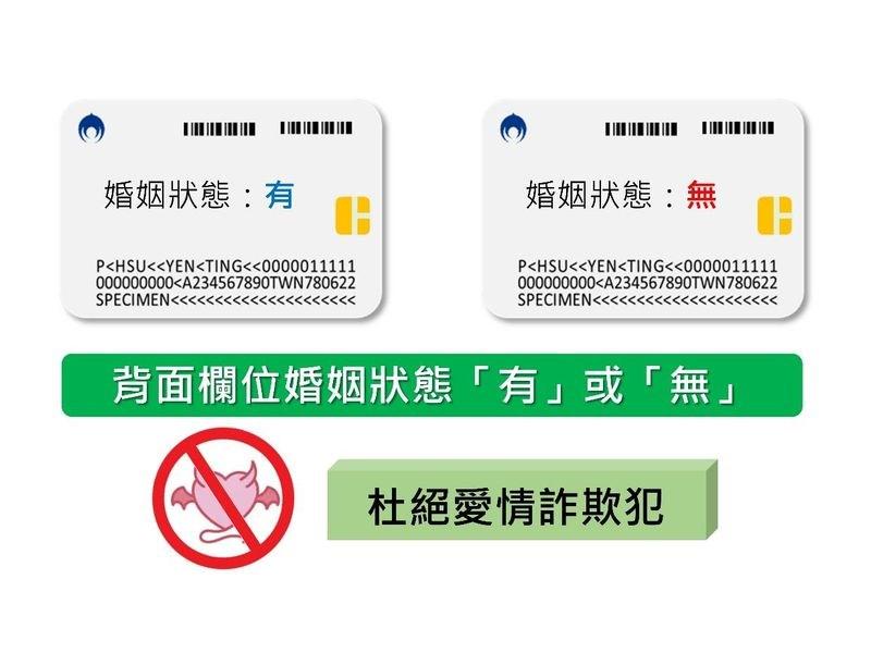 內政部3日表示,數位身分識別證增列結婚狀態欄位,可清楚辨識當事人現在的婚姻狀態。(內政部提供)