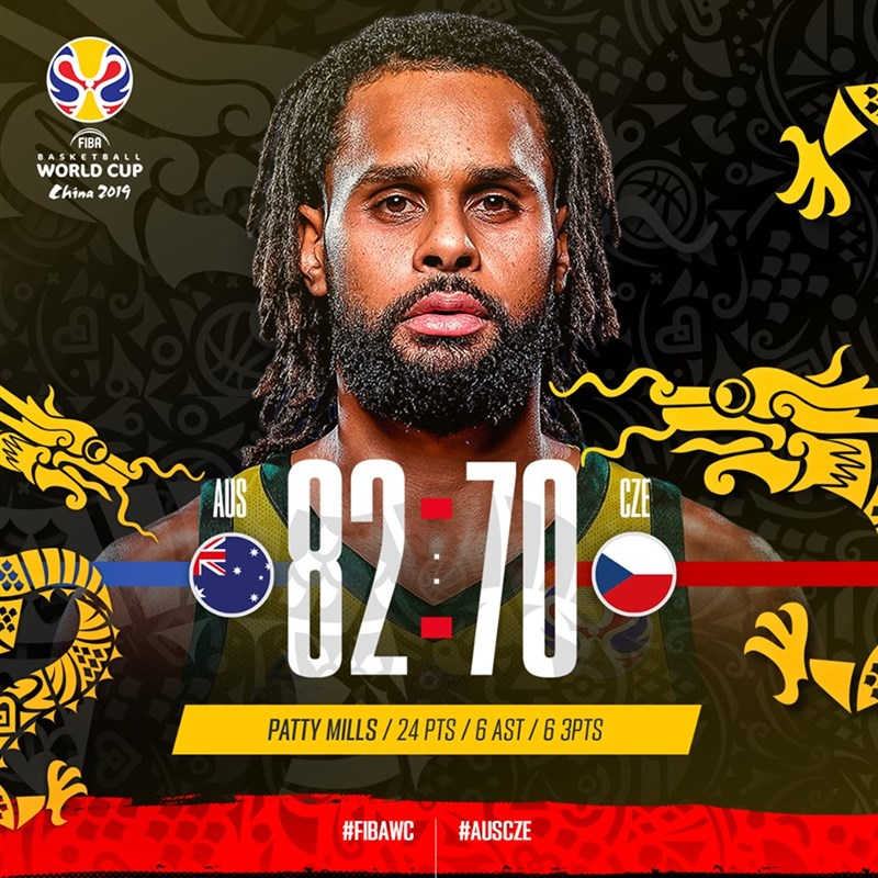 世界盃籃球賽8強賽事最後一場11日晚間澳洲對戰捷克,最後澳洲以82比70淘汰捷克,隊史首度晉級4強。(圖取自facebook.com/FIBA)