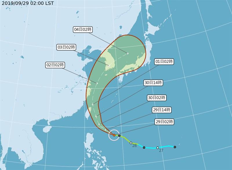 輕度颱風米塔朝台灣移動,中央氣象局29日上午8時30分將發布海上颱風警報。(圖取自氣象局網頁cwb.gov.tw)