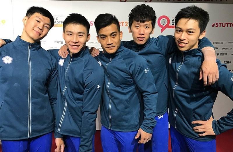 2019世界體操錦標賽6日在德國斯圖加特舉行,李智凱(右2)和唐嘉鴻(左1)領軍中華隊男子成隊,合計拿下250.093分。7日確定取得2020東京奧運男子成隊門票。(圖取自twitter.com/gymnastics)