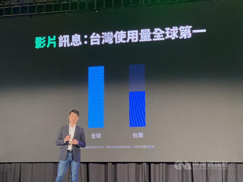 通訊軟體LINE 23日在台北舉辦秋季記者會,LINE台灣服務企劃部負責人林慶達表示,台灣用戶的影片傳送量高居世界之冠,占全球影片訊息量5成以上。中央社記者吳家豪攝 108年10月23日