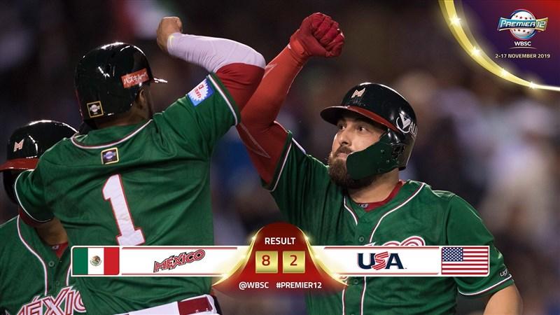 世界12強棒球賽A組進行到第2天賽事,墨西哥以8比2擊退美國隊,拿下2勝0敗,率先確定以分組第一晉級在東京的複賽。(圖取自twitter.com/WBSC)