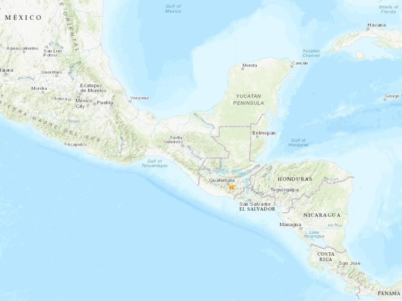 瓜地馬拉南部(星號處)9日凌晨發生規模5.6地震。(圖取自美國地質研究所earthquake.usgs.gov)