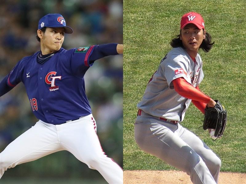 世界12強複賽中華隊12日將在千葉ZOZO球場對戰韓國隊,推出張奕(左)先發,對戰左投金廣鉉(右)。(左圖中央社檔案照片;右圖取自維基共享資源;作者MarShall™의 저주받은 블로그 - NC 야구 및 고전 게임 블로그,CC BY-SA 4.0)