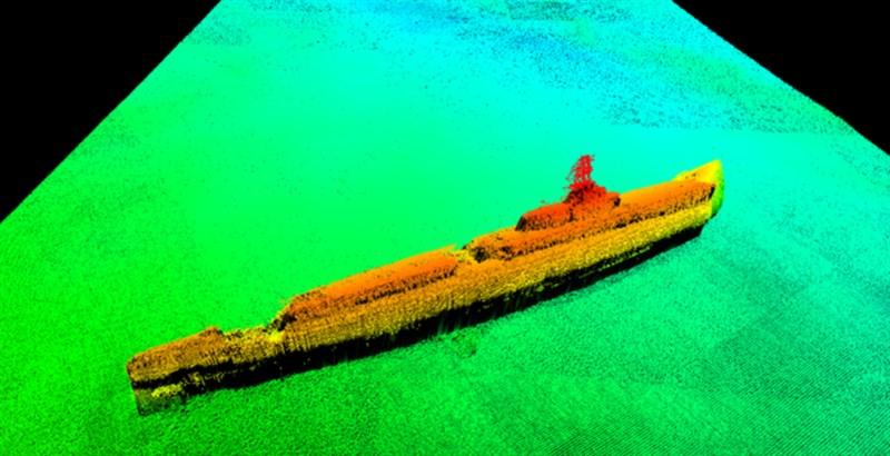 苦苦搜尋75年,美國最近終於在日本沖繩外海找到二戰期間失蹤的海軍潛艦「灰鯨艦」。圖為水下歷史遺跡調查機構Lost 52 Project公布灰鯨艦的聲納圖像。(圖取自Lost 52 Project網頁lost52project.org)