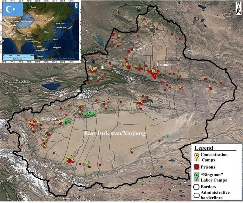 東突厥斯坦民族覺醒運動(ETNAM)提供182個疑似維吾爾人「集中營」的地理座標。(圖取自ETNAM網頁nationalawakening.org)