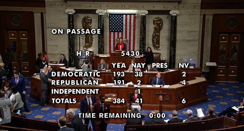 美國聯邦眾議院19日壓倒性通過新版北美貿易協定,眾議院以385票贊成、41票反對通過美國-墨西哥-加拿大協定(USMCA)實施法案。這對面臨彈劾的總統川普來說堪稱一大勝利。(圖取自美國眾議院網頁live.house.gov)