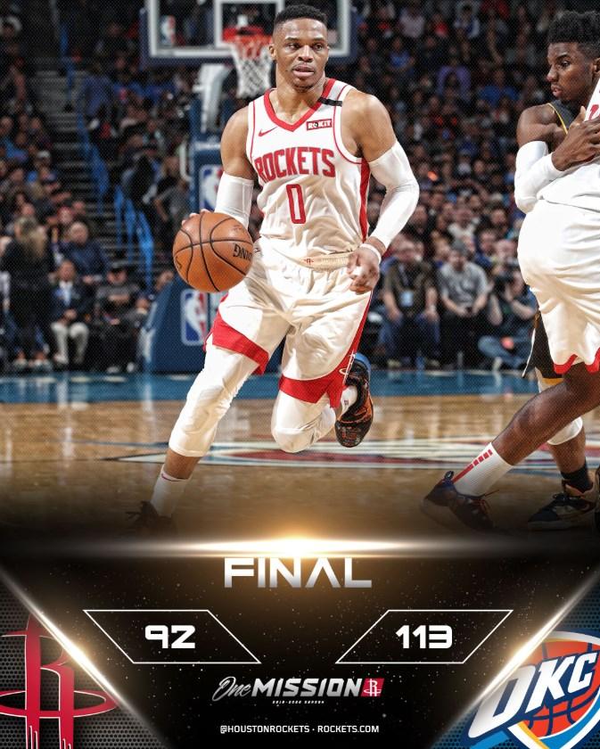 美國職籃NBA休士頓火箭球星衛斯布魯克9日重回老東家奧克拉荷馬雷霆主場,他雖攻下全場最高34分,但雷霆隊從頭到尾都掌控比賽局勢,終場就以113比92大勝火箭。(圖取自twitter.com/HoustonRockets)