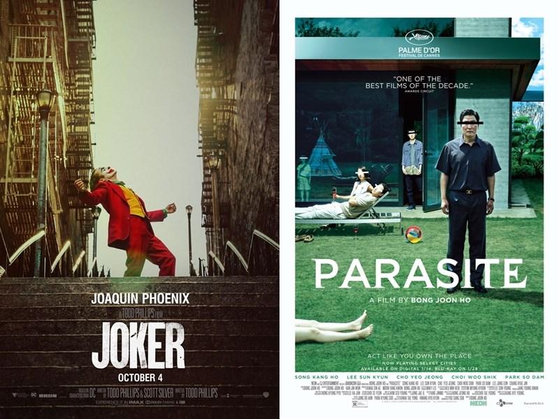 第92屆奧斯卡金像獎入圍名單13日出爐,美國DC漫畫角色前傳電影「小丑」(左)跟韓國電影「寄生上流」雙雙入圍。(圖取自電影官方網頁或臉書facebook.com/jokermovie、parasite-movie.com)