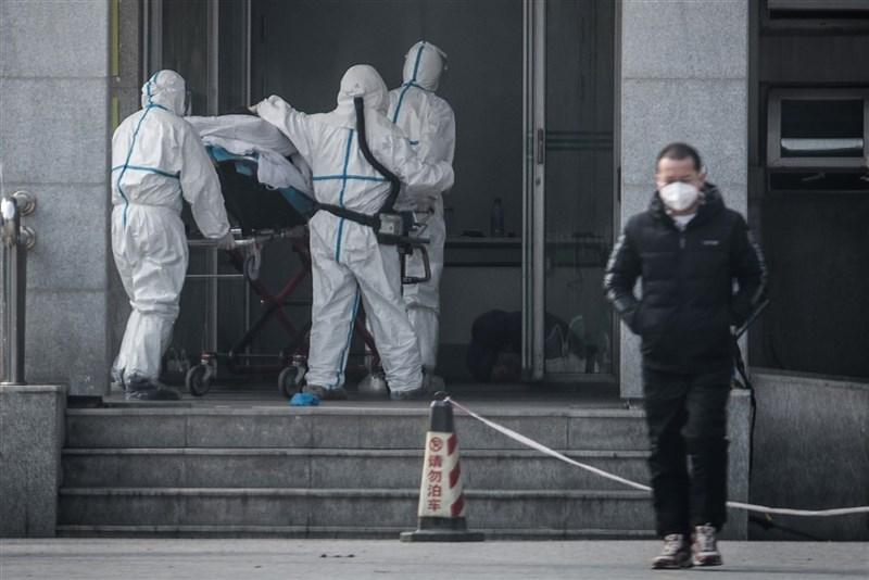 新型冠狀病毒引起的肺炎從中國武漢往外擴散,中國官方表示,病毒的來源很可能是市場銷售的野生動物。圖為醫護人員將患者送入武漢金銀潭醫院。(法新社提供)