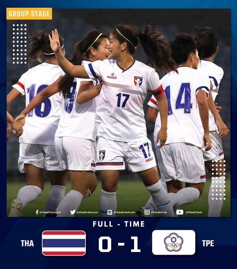 中華女子足球代表隊3日以1比0擊敗泰國隊,在東京奧林匹克運動會女足亞洲區資格賽開紅盤。(圖取自facebook.com/theafcdotcom)