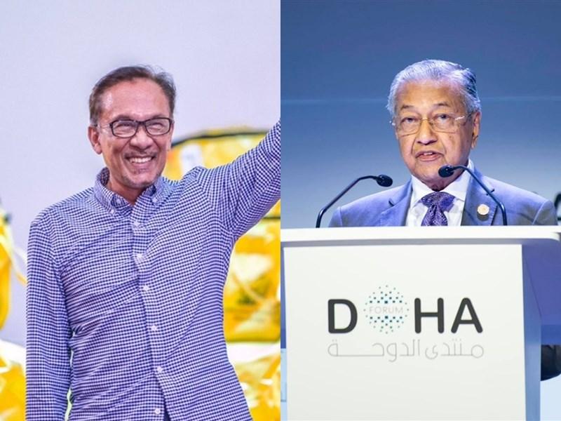 馬來西亞首相馬哈地(右)24日宣布辭職引發政壇老將安華不滿。兩人數十年來的糾葛再度浮上檯面。(左圖取自twitter.com/anwaribrahim,右圖取自facebook.com/TunDrMahathir)