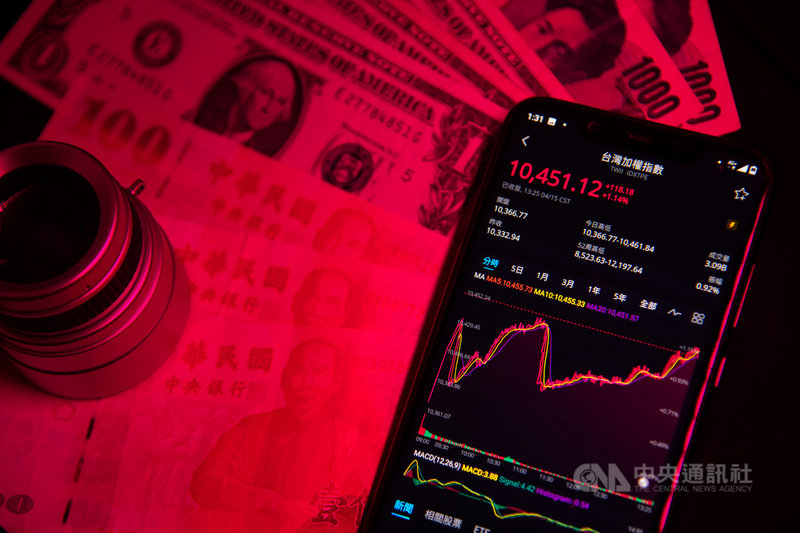 台股15日在傳統產業、電子與金融類股齊揚帶動下,指數一度大漲超過100點,突破10400點關卡。中央社記者林俊耀攝 109年4月15日
