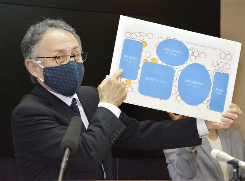 武漢肺炎疫情嚴峻,但沖繩縣卻被日本民眾視為度假勝地,已有6萬人預約國內班機機位打算黃金週到沖繩觀光。圖為沖繩縣知事玉城鄧尼23日在記者會上說明武漢肺炎狀況。(共同社提供)