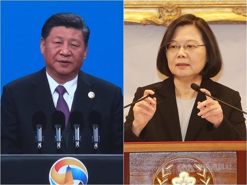 總統蔡英文(右)第一任時,中國解放軍仍處於轉型階段,但經過4年,解放軍有很大變化。專家認為,蔡總統第二任任期要面對的是比4年前更有經驗、更成熟的解放軍。左為中國國家主席習近平。(中央社檔案照片)