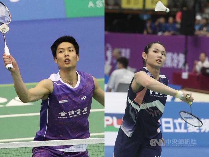 世界羽球聯盟宣布,將於2021年重啟羽球奧運積分賽,並保留選手在先前資格賽所獲得積分和排名。目前東京奧運積分排名,台灣羽球一哥周天成(左)位居男單第2、世界球后戴資穎則是女單第2。(中央社檔案照片)