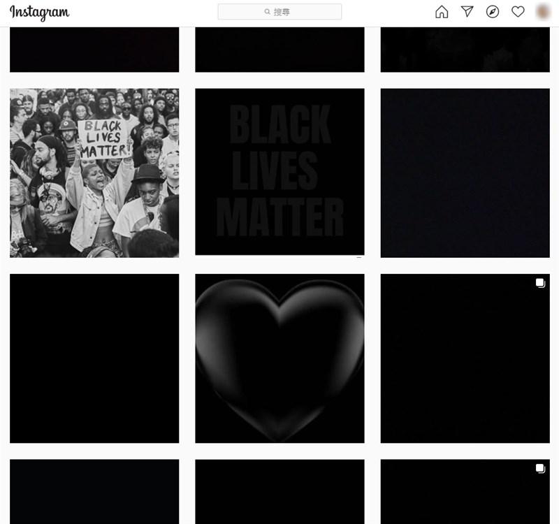 美國非裔男子遭警方壓頸致死,各界紛紛在社群媒體上分享黑色畫面響應聲援活動。圖為在Instagram上搜尋#blackouttuesday後的頁面。(圖取自Instagram網頁instagram.com)