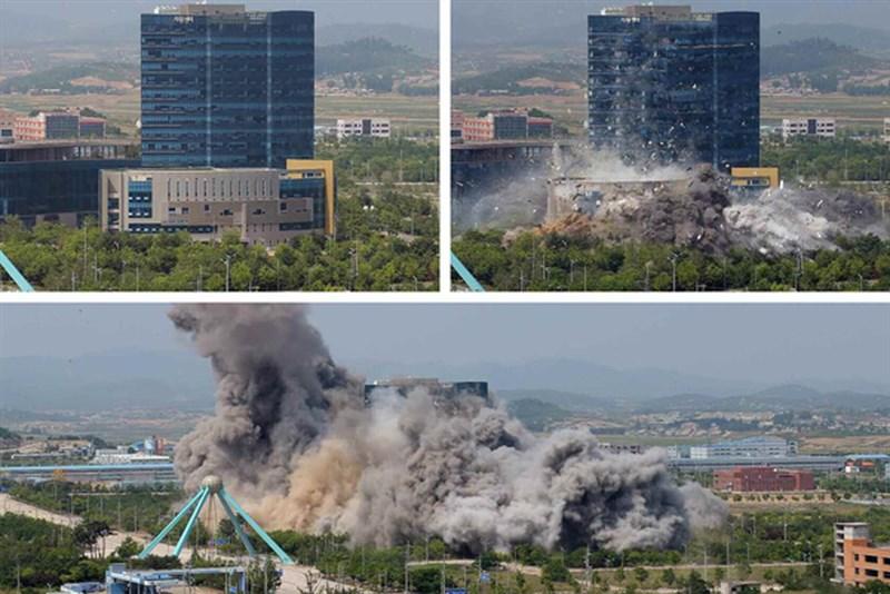 北韓16日炸毀位於開城的兩韓聯絡辦公室,北韓官媒17日公布照片。(圖取自勞動新聞網頁www.rodong.rep.kp)
