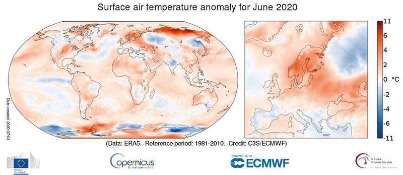 歐盟哥白尼氣候變化服務發表6月全球氣溫異常圖,可看出西伯利亞地區與以往平均氣溫高出攝氏10度。(圖取自twitter.com/CopernicusECMWF)