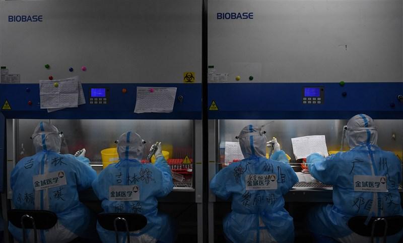 世界衛生組織7日表示,世衛專家本週末將前往中國,研究疾病起源及傳播途徑。圖為中國北京金域醫學實驗室人員進行核酸檢測作業。(檔案照片/中新社提供)
