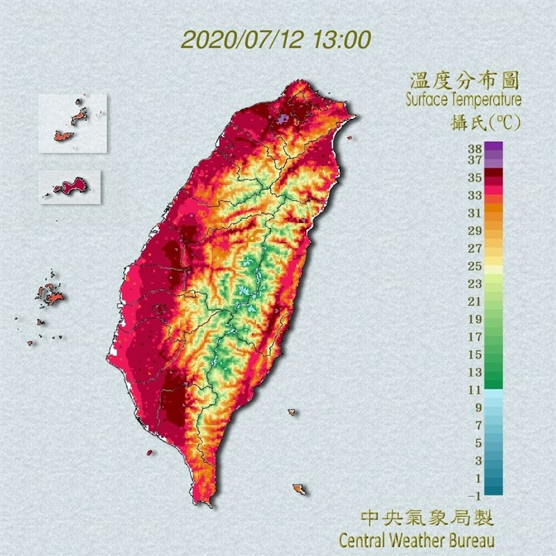 氣象局觀測,12日午後南投縣氣溫上升到攝氏39度,台北市也達38度。(圖取自中央氣象局網頁cwb.gov.tw)
