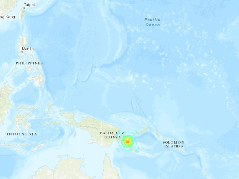 美國地質調查所表示,巴布亞紐幾內亞東部17日發生規模6.9強震。(圖取自美國地質調查所網頁earthquake.usgs.gov)