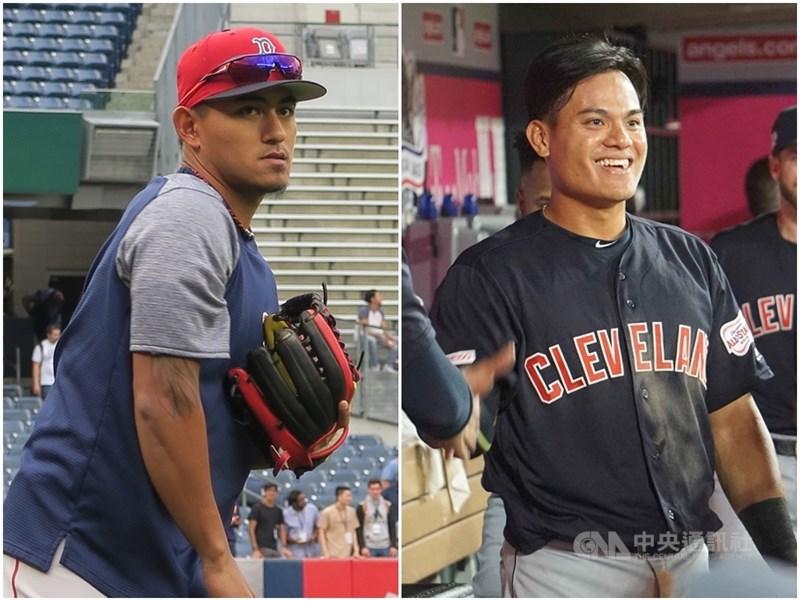 美國職業棒球大聯盟波士頓紅襪隊野手林子偉(左),確定被帶入開季30人名單,加上克里夫蘭印地安人隊內野手張育成(右),成為2016年後再有同時2名台將開季從大聯盟出發。(中央社檔案照片)