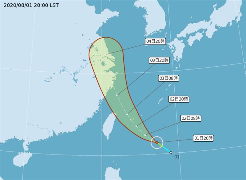 中央氣象局觀測,今年第4號輕度颱風哈格比1日8時形成,預計2日上午發布海上颱風警報。(圖取自中央氣象局網頁cwb.gov.tw)